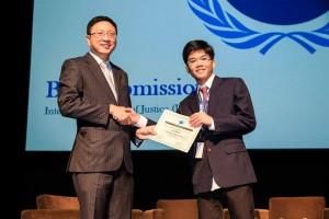Samuel receiving award